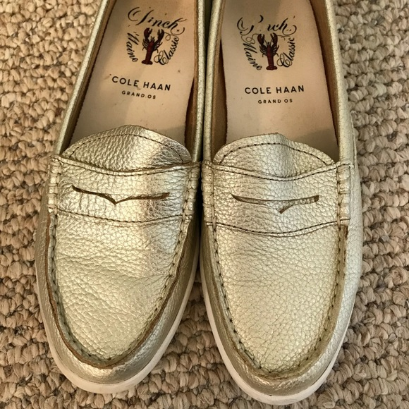 566df939aba Cole Haan Gold Loafers 6.5